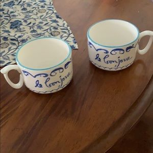 Anthropologie mugs with Le Bonjour French writing